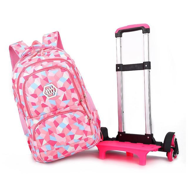 SIXRAYS çocuk erkek kız arabası Schoolbag bagaj kitap çanta sırt çantası son çıkarılabilir çocuk okul çantaları 3 tekerlekli merdiven