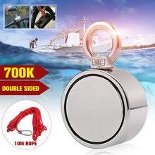 700KG güçlü güçlü neodimyum mıknatıs çift taraflı arama mıknatıs kanca D75mm süper güç kurtarma balıkçılık mıknatıs ile 10M halat