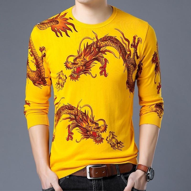 Dragon Print Sweater Animal Printed Sweater Mens Fashion Pullover Slim Fit M-3XL