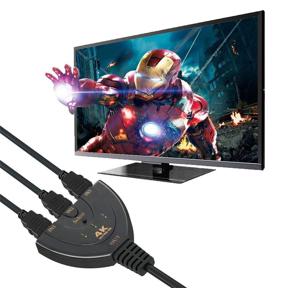 Image 3 - HDMI Switch 3 Port 4K HDMI Switch 3 in 1 Out with High Speed Switch Splitter Pigtail Cable Supports Full HD 4K 1080P 3D Player