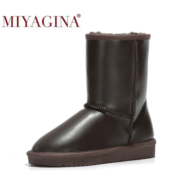 MIYAGINA New Fashion Women Snow Boots 100% Genuine Leather Women Boots Natural Fur Warm Wool Winter Shoes Free Shipping 100% genuine leather natural fur snow boots warm wool women boots classic waterproof ankle boots women shoes lady winter boots