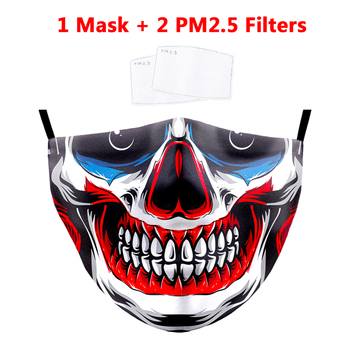 Skull Printing Mouth Masks Ghost Skeleton Face Mask PM2.5 Filters Protective Dustproof Bacteria Mask Washable Anti-Dust Masks new ghost skull mask cs balaclava for military fans cycling face mask anti uv rays rib fabric quick dry silk screen printing