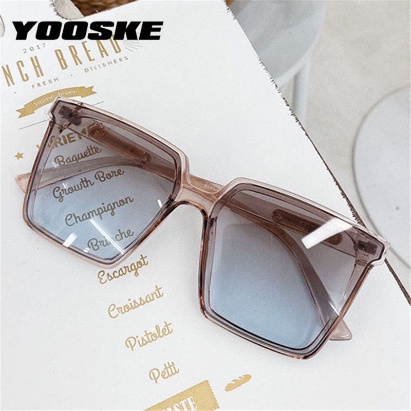 YOOSKE Vintage Brand Designer Square Oversized Sunglasses Women Men Transparent Gradient Sun Glasses Big Frame Eyewear UV400