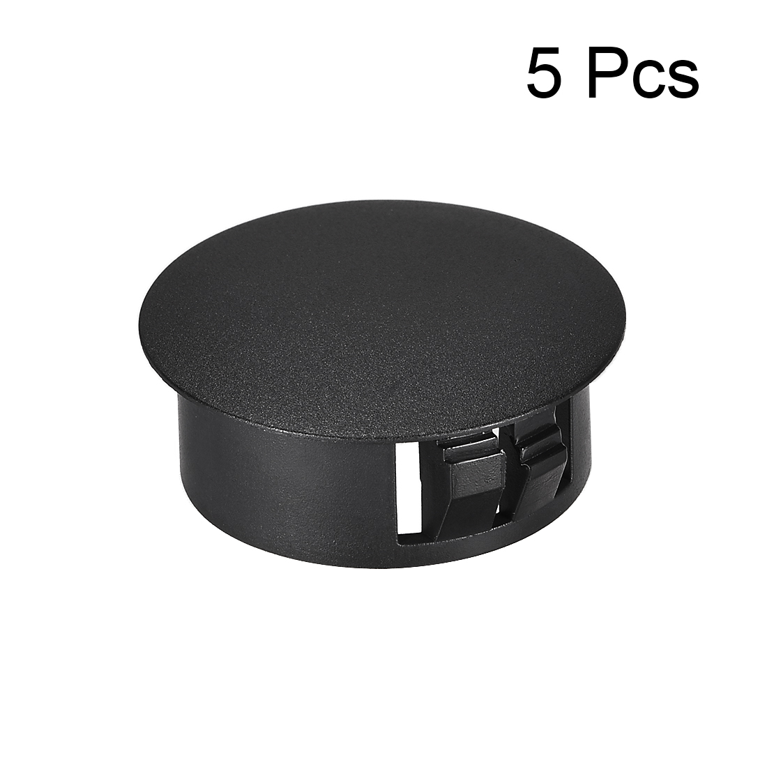 Uxcell 5pcs 25mm X 11mm Mounting Black Nylon Round Snap Panel Locking Hole Plugs Cover