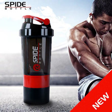 19oz BPA Free Portable Protein Powder Fitness Sports Shaker Bottle with Twist Lock Box Storage and Blending Ball