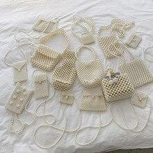 Mini bolso de perlas hecho a mano Retro EVA cuentas marca diseñador moda banquete fiesta bolsos de hombro para mujeres 2019 decoración de boda señoras bolso de mano de fiesta con cuentas de perlas pequeño bolso de mano