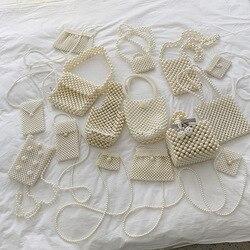 Mini Saco de Pérolas Handmade Retro EVA Frisado Banquete Partido Sacos de Ombro para as mulheres Marca de Designer de Moda 2019 Decoração de Casamento Das Senhoras sacola partido Pérola Frisado Pequeno Tote Bag Luxo