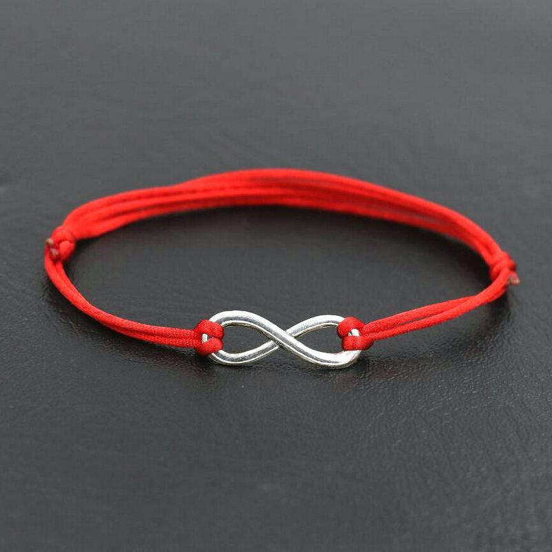 Простой дизайн цифровой 8 кресты Бесконечность Серебряный Цвет браслет тонкая красная веревочная нить строка браслеты для мужчин и женщин