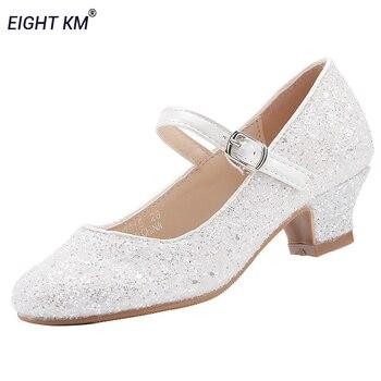 Детская обувь Mary Jane на низком каблуке; Платье для девочек; Праздничная обувь принцессы для девочек; Модная Регулируемая обувь для танцев Бел...