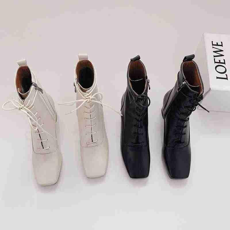 Krazing หม้อของแท้หนังแฟชั่น basic รองเท้าสแควร์ toe lace up vintage design ทั้งหมด gorgeous elegant กลางลูกวัวรองเท้า l11