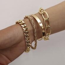 4 Pcs/set Punk Vintage Thick Thread Twist Bracelet Exaggerate Hip Hop O-chain Set Bracelet Women Men Fashion Bracelet Accessory