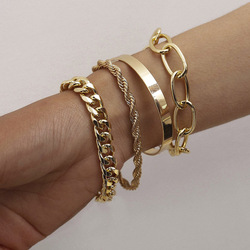 4 Pcs/set Punk Vintage Thick Thread Twist Bracelet Exaggerate Hip Hop O-chain Set Bracelet Women Men Fashion Bracelet Accessory