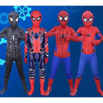 Superbohater pająk chłopiec kostium Spiderman Cosplay body nosić odzież z maską tanie i dobre opinie OLOEY Jumpsuits Rompers Anime Chłopcy Zestawy Other We measured manually please allowed 1-4 cm size deviation Polyester