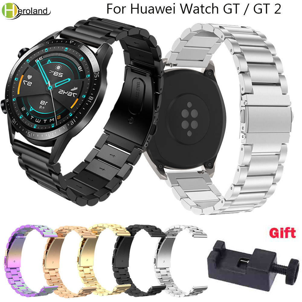 Stainless Steel 22mm WatchStrap For HUAWEI WATCH GT 2 46mm Quick Release Watchband For Samsung Gear S3 Frontier Classic Bracelet