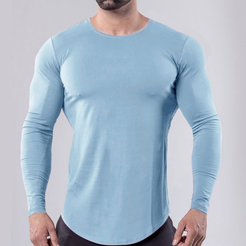 Gym Long Sleeve T Shirt Men Fitness Sport Cotton T-Shirt Male Bodybuilding Workout Skinny Tees Spring Casual Solid Tops Clothing
