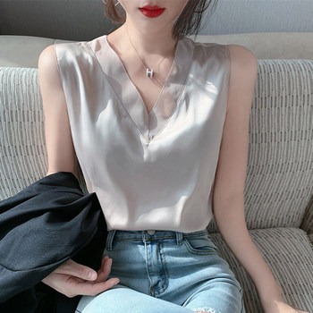 Silk Tops for Women Satin Mesh Tank Tops for Women Sexy Woman V-neck Basic White Top Plus Size Woman Sleeveless Silk Tank Top OL women solid round neck ribbed tank top camisole women 2020 summer basic elastic tank top o neck solid tank top plus size