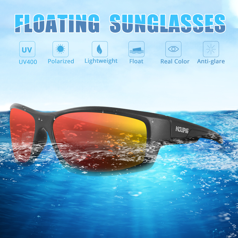 KDEAM LUXURY Floating Sunglasses Polarized men Eyewear Red mirrored lens wrap-style shades Women UV400 protection KD7078