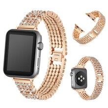Diamant Strass Bling Riem Voor Apple Horloge Band 38 42Mm Rvs Metalen Armband Voor Iwatch 5 6 se 40 44Mm, myl bd14