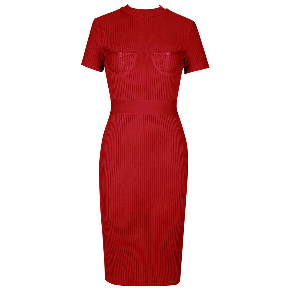 Ocstrade Vestifo 붕대 새로운 도착 2020 여성 레이온 섹시한 레이스 붕대 드레스 레드 Bodycon 연예인 클럽 이브닝 드레스