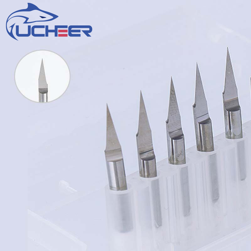 UCHEER 10pcs 3.175mm CNC Router Bit Tip0.1-0.8 10°-60° Engraving Bits Carbide Machine Accessories Tools  End Mill Cutter