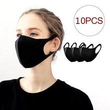 Rápido envio preto lavável máscara boca de seda gelo algodão filtro respirador anti poeira mascarillas rosto máscaras reutilizáveis adulto