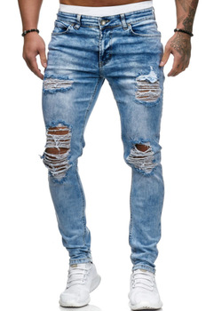2020 Europe and America men's jeans new hole technology straight tube jeans hot sale fashion alternative elastic Street terkel division street america pr only