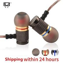 KZ ED auriculares con carcasa chapada en oro y micrófono, HiFi, HD, 3,5mm, para teléfono móvil