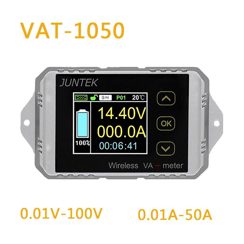 VAT1050 Wireless Voltage Current Meter 100V 50A Car Battery Monitoring 12V 24V 48V Battery Coulomb Counter VA Meter
