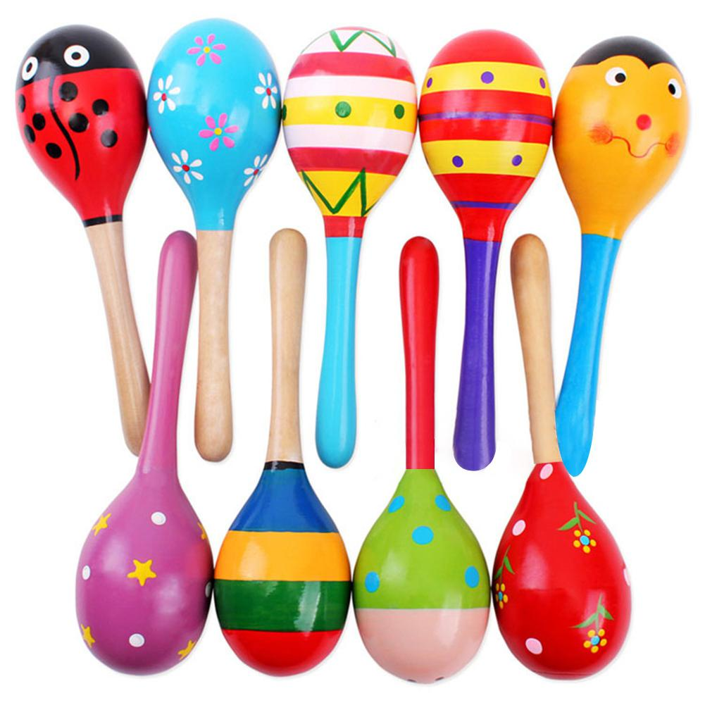 Kuulee Colorful Wooden Hand Sand Hammer Baby Rattle Educational Toy Random Wood Sand Hammer