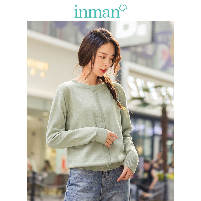 INMAN Winter New Arrival Literary Solid Color Round Collar Fake-Single-Breasted Thin Pullover Sweater