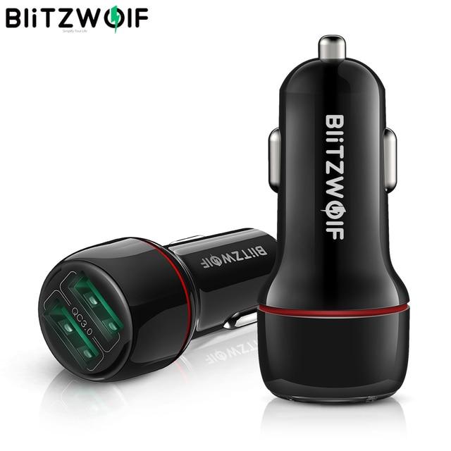 BlitzWolf 18W הכפול QC3.0 USB יציאת מיני מהיר טעינת מטען לרכב עבור iPhone 11 פרו XS/Xiaomi/pocophone F1 נייד טלפון