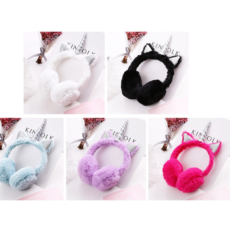 Children Plush Unicorn Earmuff Ear Muffs Kids Lovely Winter Warmer Ear Muffs Rabbit Fur Thicken Plush Unicorn Ear Cover