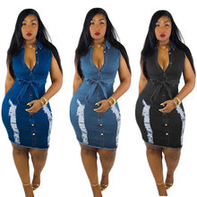 2019 new hot selling European And American Women Denim Dress Washing Water Hole Sexy dress(China)