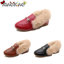 Hot Kids Metal Chain Shoes Winter Warm Boys Girl Black Brown Fur Flat Rubber Non-slip Leather Velvet Fluffy Fur Kids Loafers(China)