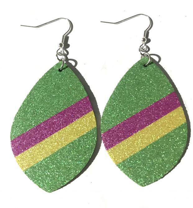 2019 Glitter Pu Leather Earrings For Women Double Side Water Drop Earrings Fashion Jewelry Dangle Ear Drop Accessories Wholesale