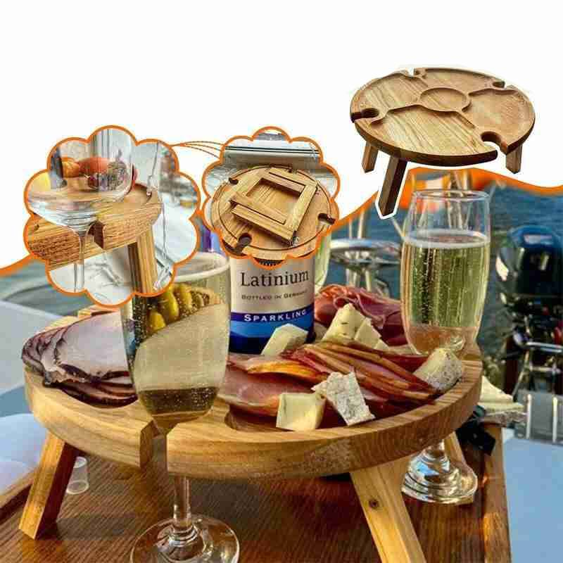 Wooden Outdoor Portable Folding Camping Picnic Table with Glass Holder Wine Rack Tables Tourist Foldable Fruit Table de jardin