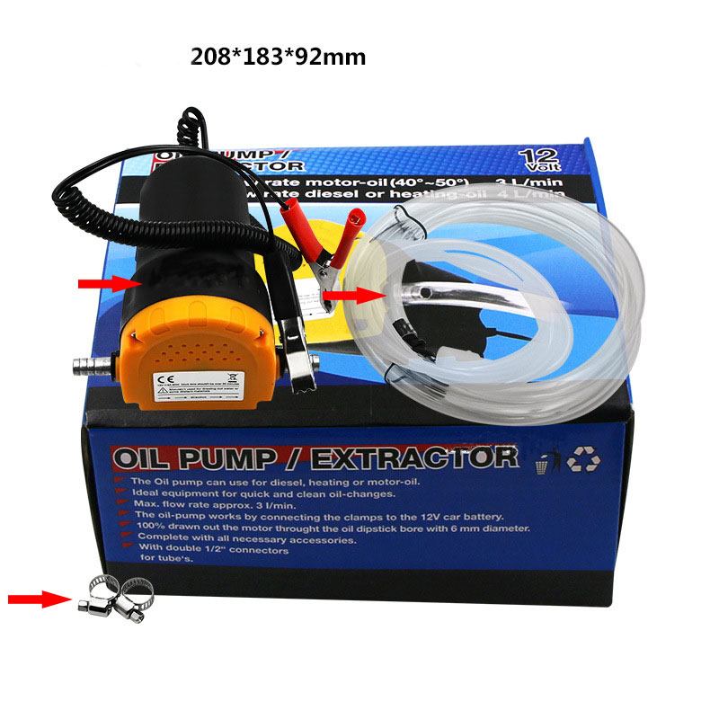 12V 60W Oil/crude oil Fluid Sump Extractor Scavenge Exchange Transfer Pump Suction Transfer Pump + Tubes for Auto Car Boat Mot 4