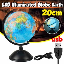 20cm LED Light World Earth Globe Map Geography Educational Toy With Stand For Kids Home Decor Miniatures Gift School Supplies