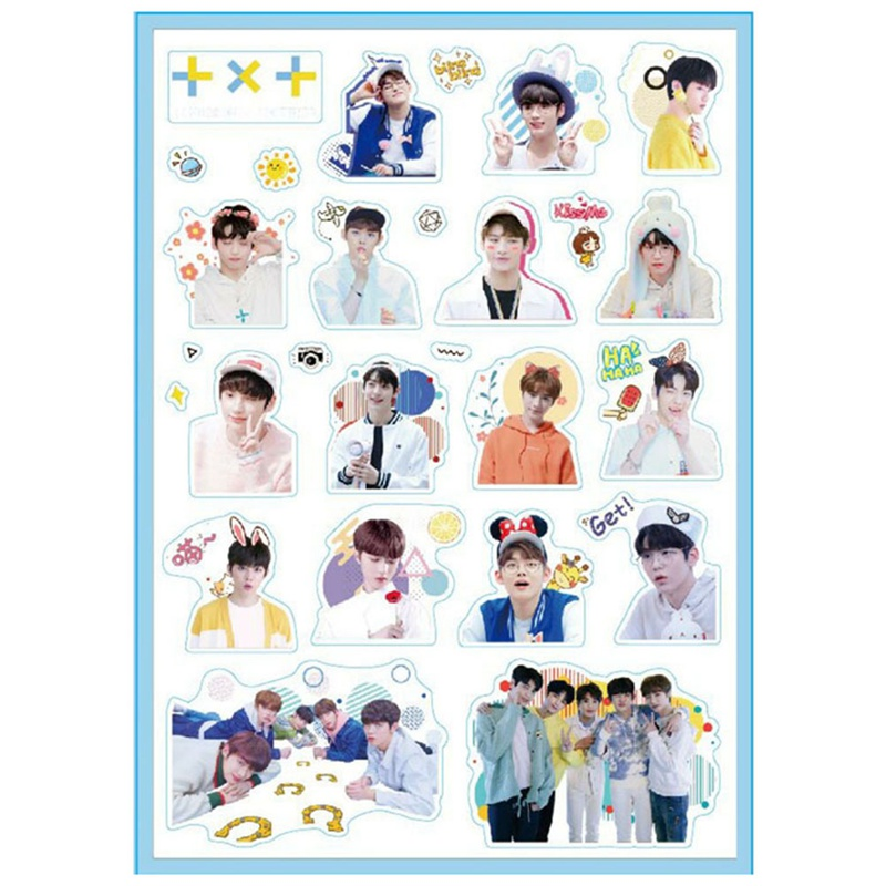 TXT Members Cute Adhesive Photo Sticker For Luggage Laptop Phone DIY Stationery Stickers