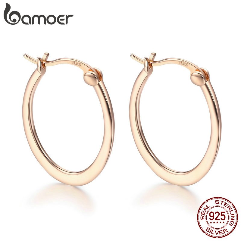 BAMOER Authentic 925 Sterling Silver Classic Round Circle Big Hoop Earrings for Women Sterling Silver Earrings Jewelry SCE478