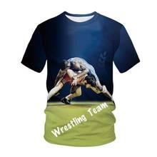 Camiseta de lucha libre para hombre, Tops informales de manga corta 3D, Camiseta de cuello redondo a la moda, novedad