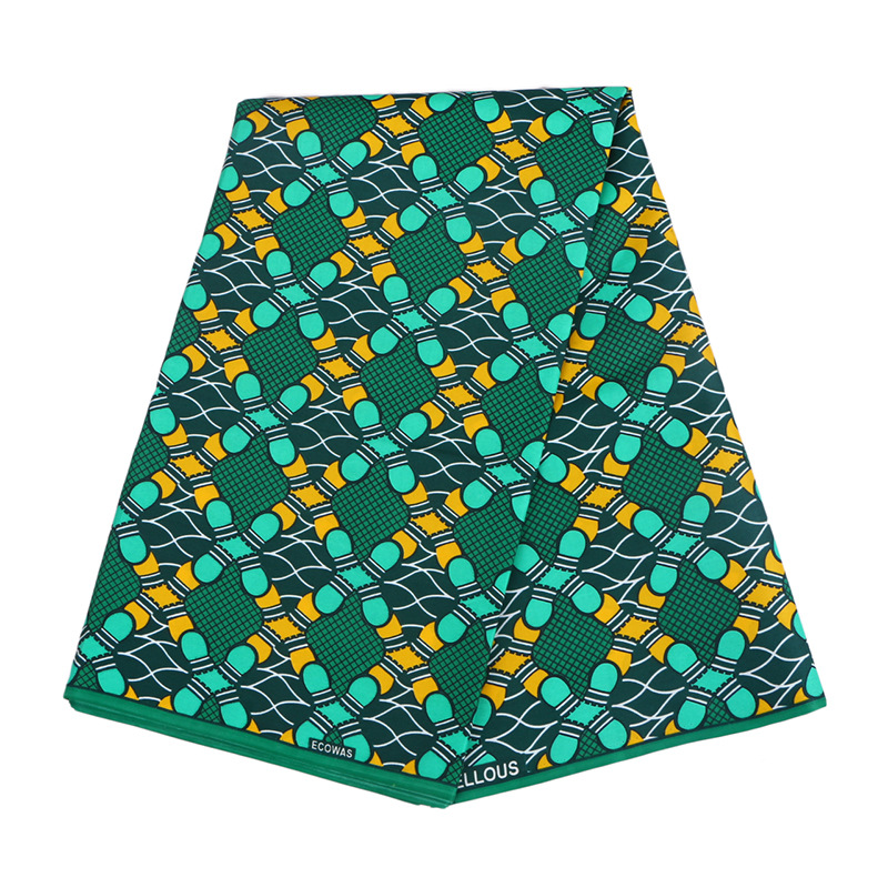 6 Yards Green Geometric Patterns Prints African Ankara Wax Fabric Breathable Pure Polyester Wax Fabric Prints For Party Daily