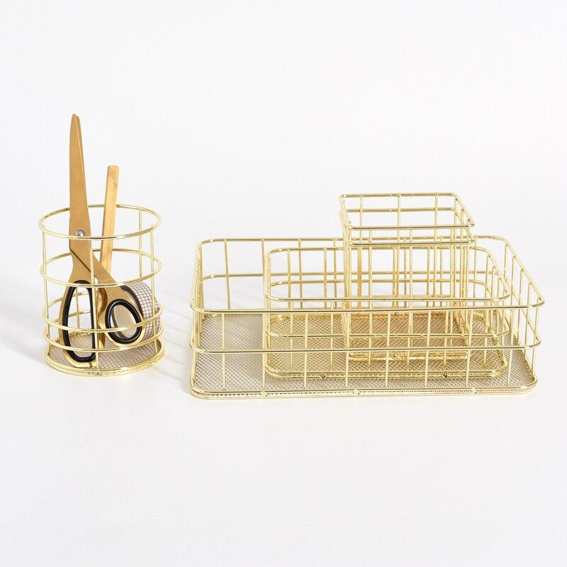 Nordic Metal Storage Basket Office Desktop Sundries Finishing Makeup Brushes Holder Table Cosmetics Organizer Rose Gold Basket|Storage Baskets|   - AliExpress