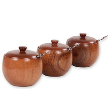 3PCs Wood Spice Box With Exquisite Spoon Chili Oil Pepper Herb Sugar Salt Seasoning Storage Jar Kitchen Cooking Tool