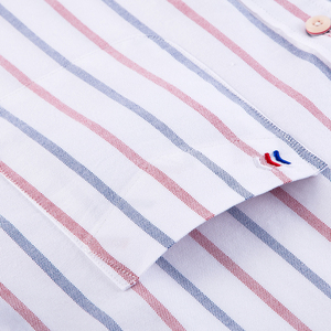 Image 5 - גברים מקרית 100% כותנה אוקספורד פסים חולצה אחת תיקון כיס ארוך שרוול סטנדרטי נוחה עבה כפתור למטה חולצות