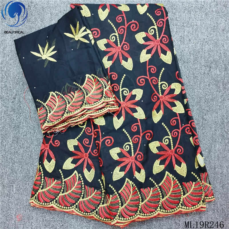 BEAUTIFICAL embroidery african lace for party cotton voile nigerian lace fabrics 7 yards/lot sewing dry laces ML19R247