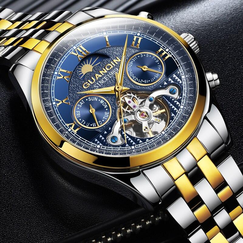 Guanqin Genuine Watch Men's Mechanical Watch Automatic Hollow Tourbillon Waterproof Luminous Belt Men's Watch Dual Calendar Mult
