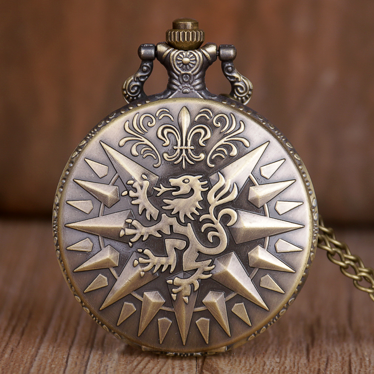 Fashion Lion Arabic Numerals White Dial Quartz Pocket Watch Analog Pendant Necklace Mens Womens Watches With Fob Chain TD2064