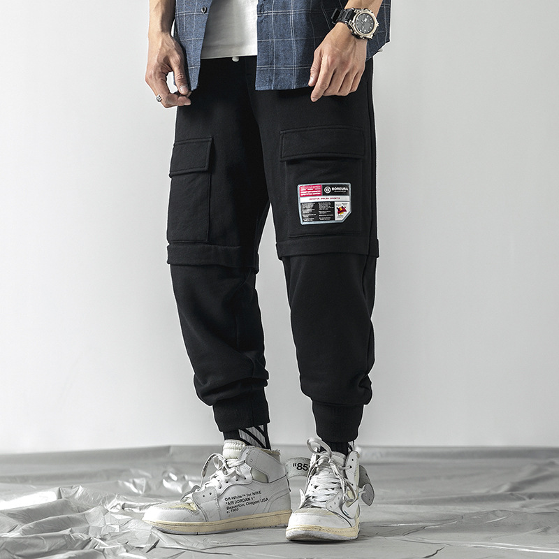 Bib Overall Men's 2019 Spring Clothing New Style Casual Pants Thinner Pants Korean-style Trend Multi-pockets Pants Ds358p4