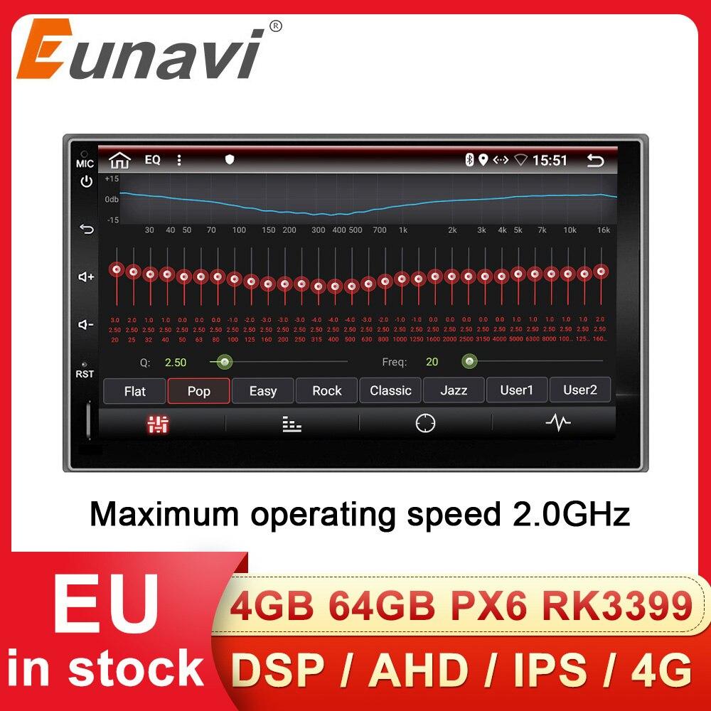 Eunavi 2 Din Universal Car Mutimedia Player Radio Audio Auto GPS Navigation Android 9 2din Headunit IPS TDA7851 4G 64GB DSP WIFI